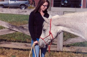 A few years ago with my first horse, Morkie, sporting her rope halter.